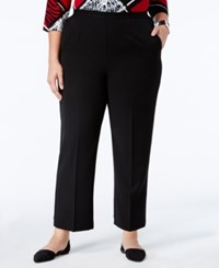 Alfred Dunner Plus Size Wrap It Up Collection Pull On Straight Leg Pants Black