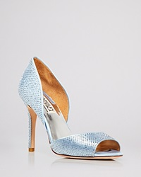 Badgley Mischka Open Toe D'orsay Evening Pumps Mitsey Rhinestone Stud High Heel Light Blue
