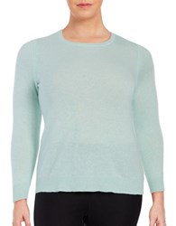 Lord And Taylor Plus Cashmere Crewneck Sweater Iced Aqua Heather