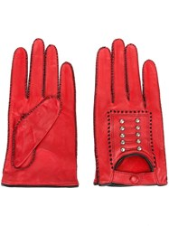 Jean Paul Gaultier Vintage Studded Gloves Red
