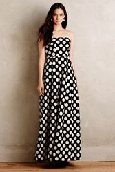 Anthropologie Capra Dotted Jacquard Gown Black