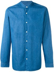 Z Zegna Chambray Collarless Shirt Men Cotton S Blue