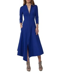 Akris Redingote Zip Front Long Sleeve Dress Blue