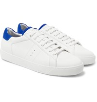 J.M. Weston Suede Trimmed Leather Sneakers White