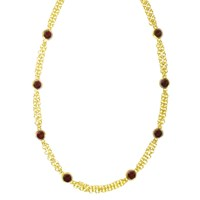 Mateo Brown Vedra Necklace In Yellow Gold With Red Garnet Cabochons Red Gold