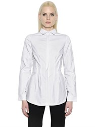 Antonio Berardi Ruffled Back Peplum Cotton Poplin Shirt