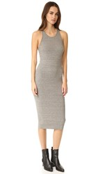 Enza Costa Rib Sheath Tank Midi Dress Heather Grey