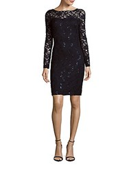 Theia Embellished Lace Dress Navy