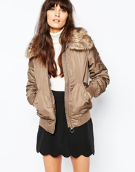 Vero Moda Ultility Bomber With Faux Fur Hood Chocolatechip