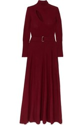 Nicholas Belted Cutout Wool And Cotton Blend Maxi Dress Claret