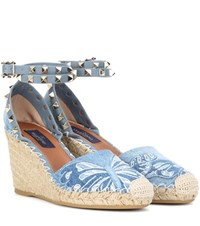 Valentino Rockstud Platform Wedge Sandals Blue
