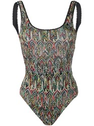 Missoni Knitted Patterned Swimsuit Black