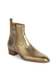 Saint Laurent Wyatt Metallic Leather Ankle Boots Gold