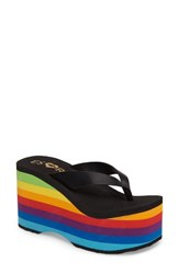 Rocket Dog Women's Esxrd Paradise Platform Wedge Flip Flop Black