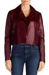 J Brand Women's Adaire Quilted Leather Jacket Oxblood