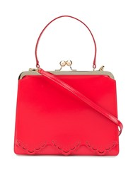 Simone Rocha Scalloped Trim Tote Bag Red