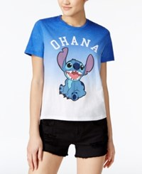 Mighty Fine Disney Juniors' Stitch Ohana Graphic T Shirt By Blue White Multi