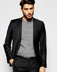 Noak Flannel Wool Blazer In Skinny Fit Black