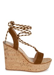 Gianvito Rossi Hyeres Brown Suede Wedge Sandals