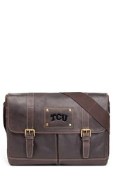 Men's Jack Mason Brand 'Gridiron Tcu Horned Frogs' Leather Messenger Bag