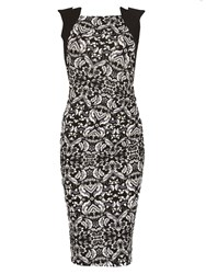 Feverfish Contrast Print Side Pleat Dress Black