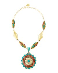 Devon Leigh Coral And Turquoise Flower Pendant Necklace Multi