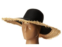 Bcbgmaxazria Textural Frayed Floppy Hat Black Traditional Hats