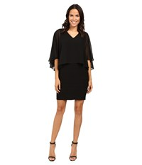 Adrianna Papell Lined Banded Matte Jersey Sheath Dress Black Women's Dress