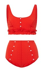 Lisa Marie Fernandez Colby Ruffle High Waist Bikini Set Red