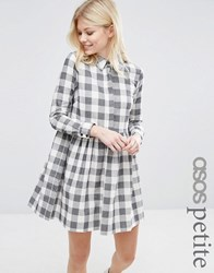 Asos Petite Gingham Smock Mini Shirt Dress Multi
