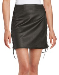 French Connection Rebound Leatherette Lace Up Mini Skirt Black
