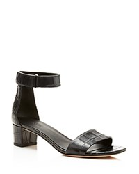 Vince Rita Embossed Mid Heel Ankle Strap Sandals Black