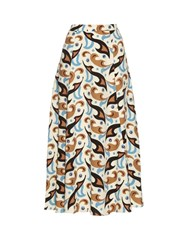 Etro Abstract Paisley Print Wool Crepe Skirt White Multi
