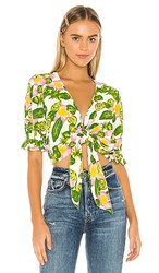 Faithfull The Brand Dinah Top In Green Yellow. Steffy Floral