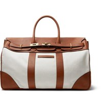 Brunello Cucinelli Canvas And Full Grain Leather Holdall Tan