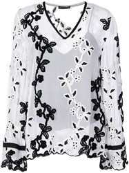 Josie Natori Embroidered Poet Top White