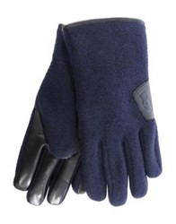 Ugg Fabric Smart Leather Gloves Navy