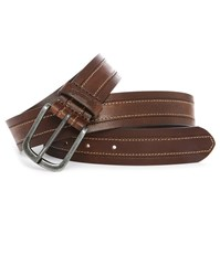 Wrangler Brown Stitch Top Stitched Leather Belt