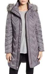 Marc New York Matte Satin Chevron Faux Fur Trim Coat Grey