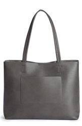 Sole Society Oversize Faux Leather Tote Grey