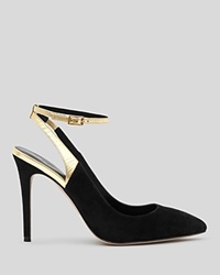 Reiss Pointed Toe Pumps Carreen Ankle Strap High Heel Black Gold