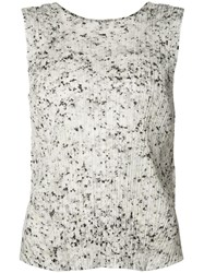 Issey Miyake Pleats Please By Pleated Texture Tank Women Polyester 2 White