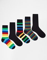 Asos 5 Pack Socks With Rainbow Stripe Design Multi
