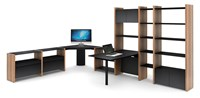 Bdi Semblance 5467 Cp 7 Section Office System With Corner Desk And Peninsula Desk Brown