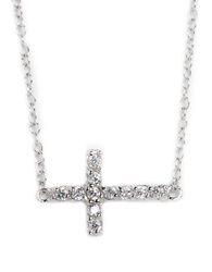 Lord And Taylor Sterling Silver And Cubic Zirconia Sideways Cross Pendant Necklace