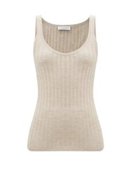 Gabriela Hearst Nevin Jaipur Ribbed Knit Cashmere Blend Top Beige