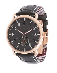 Ike Behar Stainless Steel And Leather Strap Watch Black