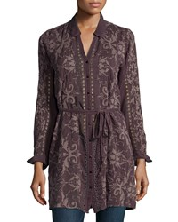 Johnny Was Mimi Long Button Front Tunic Raisin