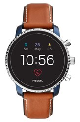 Fossil Q Explorist Hr Leather Strap Smart Watch 45Mm Brown Blue Silver