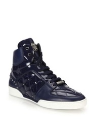 Versace Quilted Patent Leather High Top Sneakers French Blue